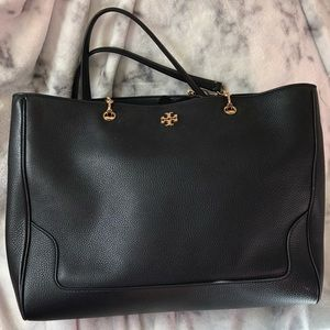 Tory Burch black Marsden pebbled Leather large